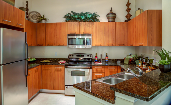 kitchen at The Circle at Hermann Park - Amalfi Apartments