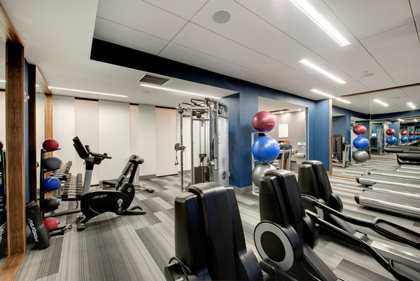 fitness center at The Lakes Residences Apartments