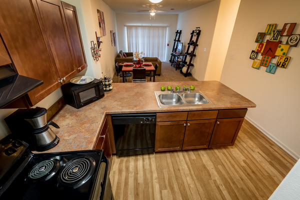 kitchen at Outpost at Waco Apartments