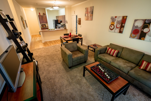 living room at Outpost at Waco Apartments
