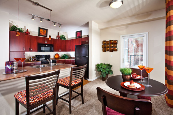 dining room at 7166 at Belmar Apartments
