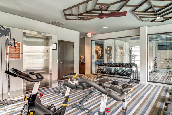 fitness center at Villas at River Oaks Apartments