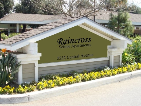 signage at Raincross Senior Village Apartments