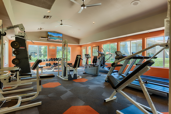 fitness center at Desert Mirage Apartments
