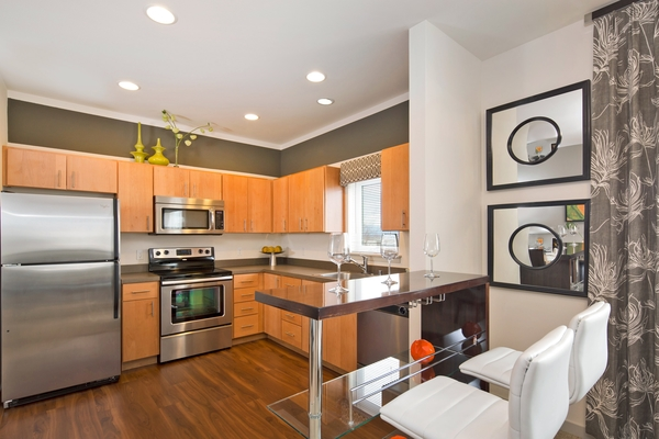 kitchen at VUE25 Apartments