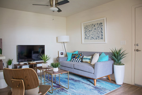living room at Copperwood Apartments
