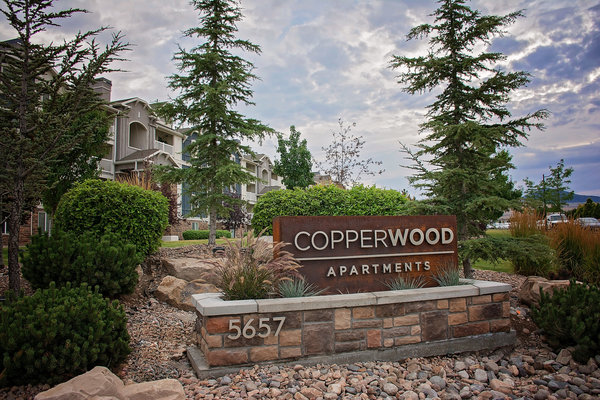 exterior signage at Copperwood Apartments