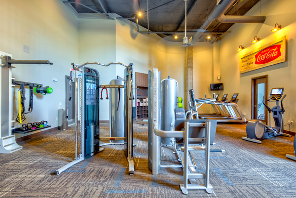 fitness center at Liberty Warehouse Apartments