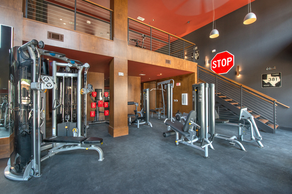 fitness center at Elan River District Apartments