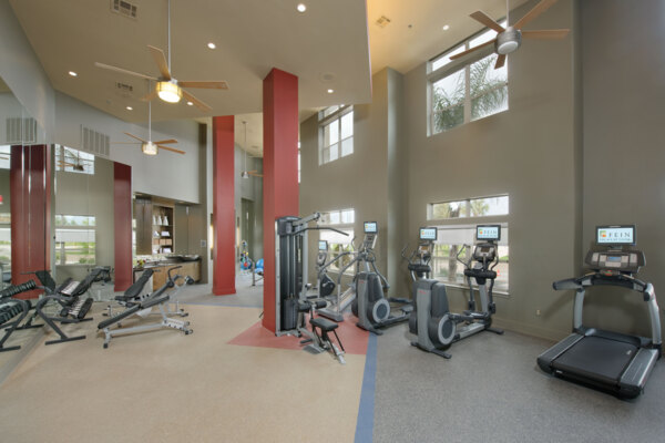 fitness center at Voyager at Space Center Apartments