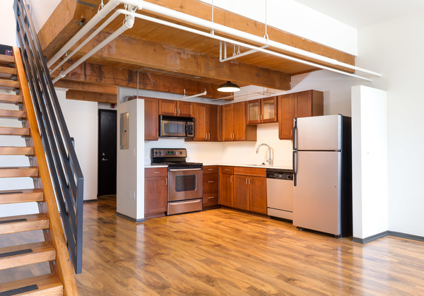 kitchen at Honeyman Hardware Lofts