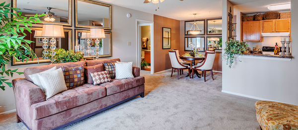 living room at Terraces at Fieldstone Apartments