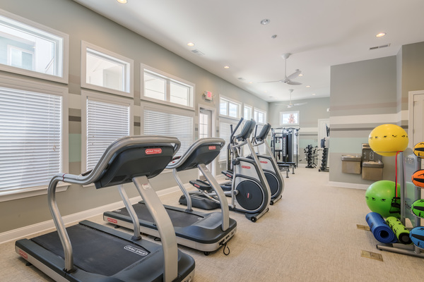 fitness center at Atlantic on the Avenue Apartments