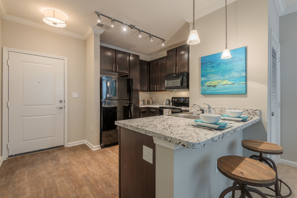 kitchen at Atlantic on the Avenue Apartments