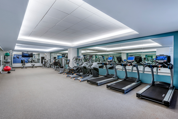 fitness center at The Henri at Pike & Rose Apartments.