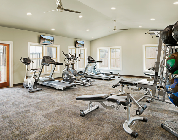 fitness room at Vickery Grove Apartments