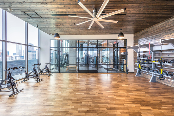 Workout gym at Ascent Victory Park Apartments