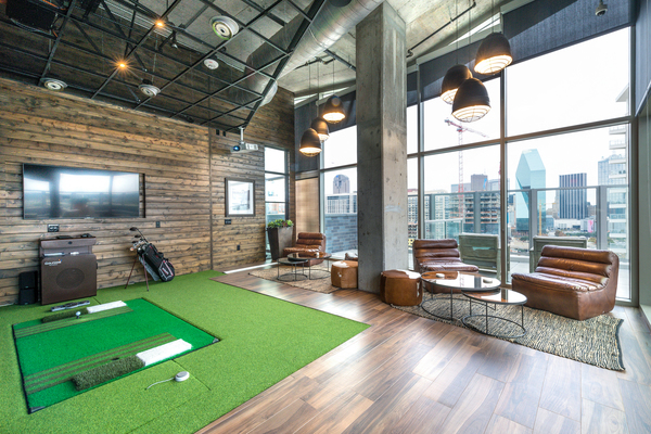 Golf Room at Ascent Victory Park Apartments