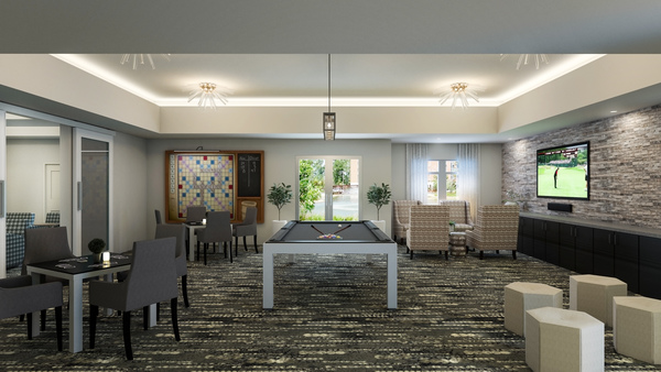 game room rendering at Overture Providence Apartments