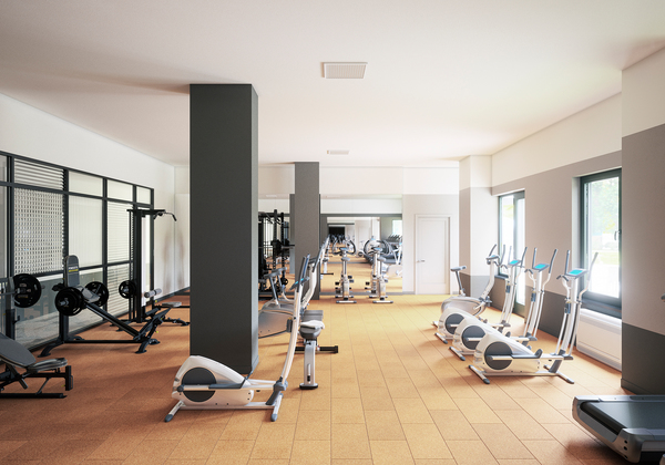 fitness center at Hudson Park River Club Apartments