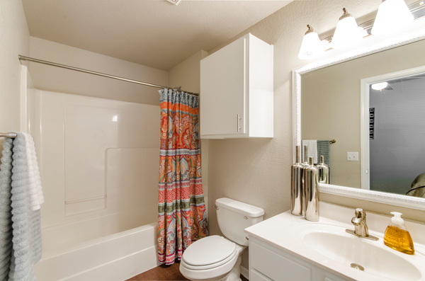bathroom at Timberlinks at Denton Apartments