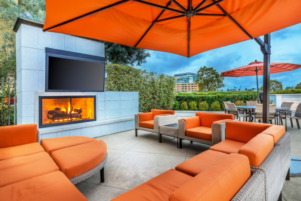 fire pit at Domain Apartments