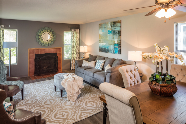 living room at TimberLane Village Apartments