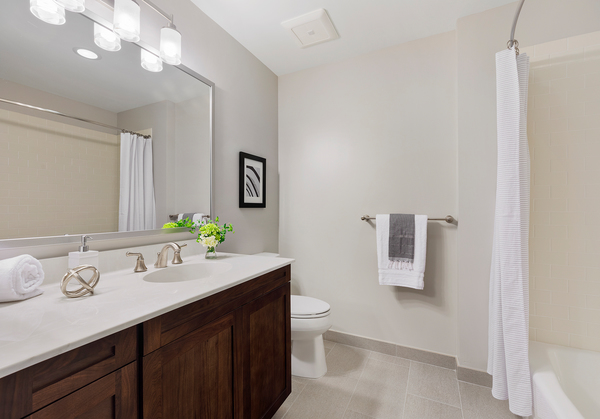 bathroom at River Club at Hudson Park Apartments