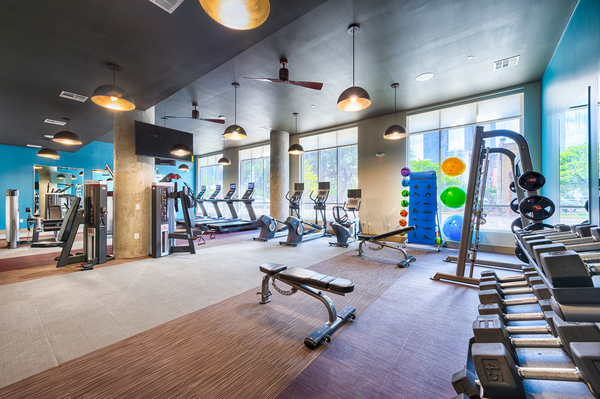 fitness center at 1711 Caroline Apartments