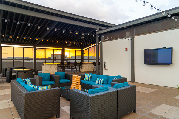 rooftop deck at Virage Luxury Apartments