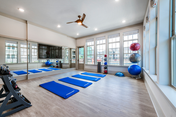 yoga/spin studio at Elan Williamsburg Apartments