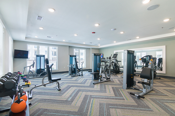 fitness center at The Aspens Apartments
