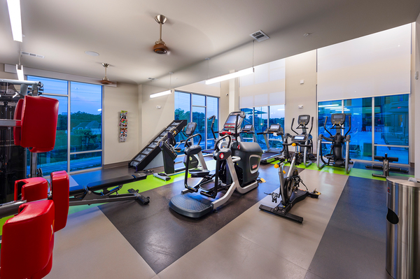 fitness center at Encore Montrose Apartments