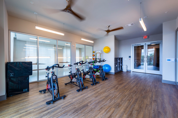 yoga/spin studio at Encore Montrose Apartments