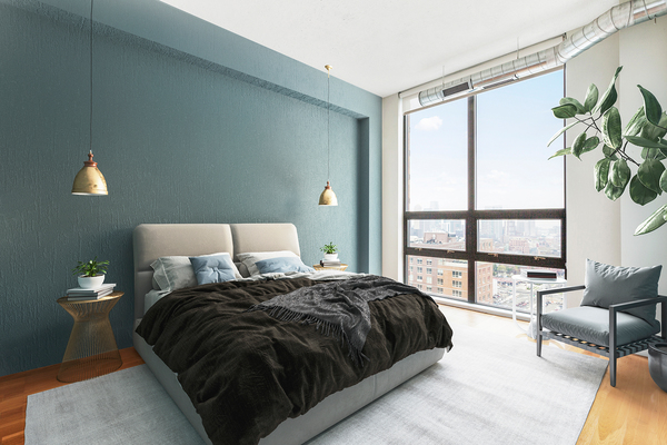 bedroom at Cast Iron Lofts