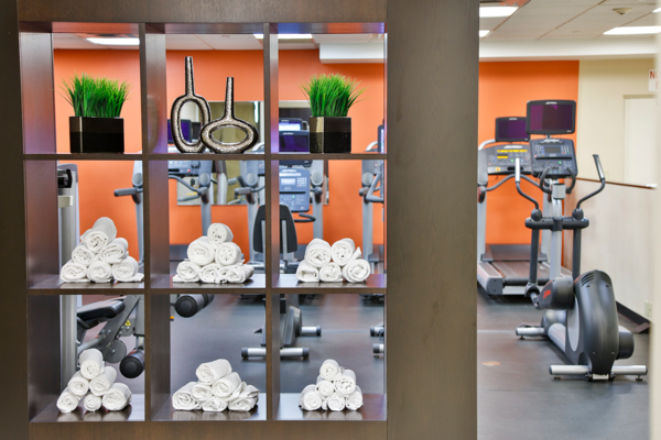 fitness center at RiverEast Apartments