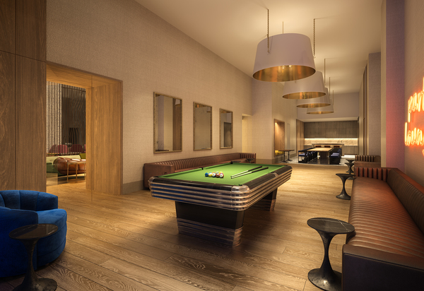 game room at 19 Dutch Apartments