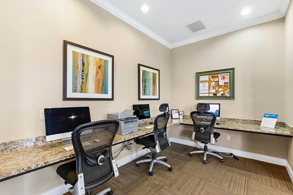 business center at Trinity Club Apartments