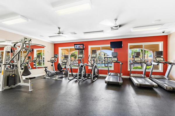 fitness center at Trinity Club Apartments