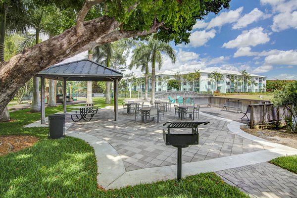 grill area at Bridges at Kendall Place Apartments