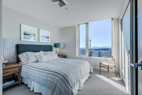 bedroom at Ascent South Lake Union Apartments