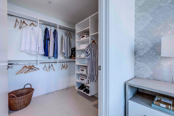 bedroom closet at Ascent South Lake Union Apartments