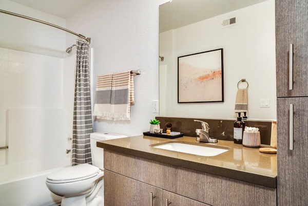 bathroom at Solterra at Civic Center Apartments