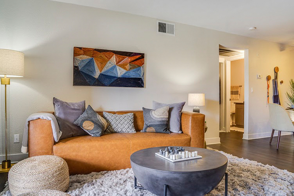 living room at Solterra at Civic Center Apartments