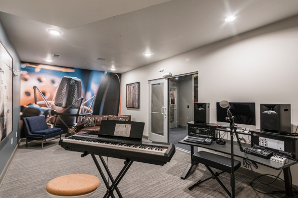 recording studio at Solis North Gulch Apartments