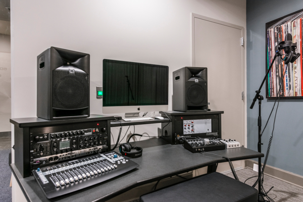 recording studio equipment at Solis North Gulch Apartments