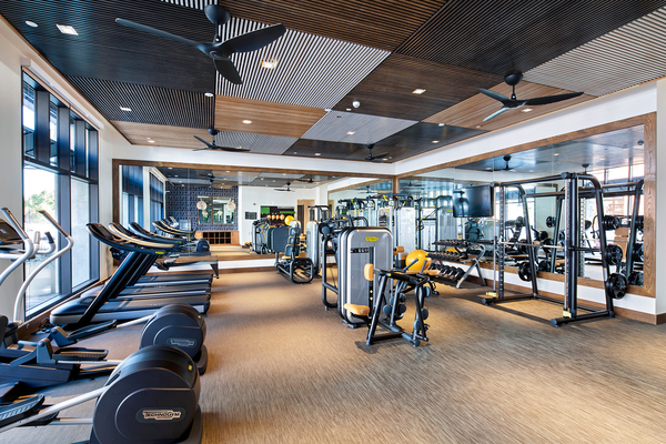 fitness center at Elan Mountain View Luxury Apartments