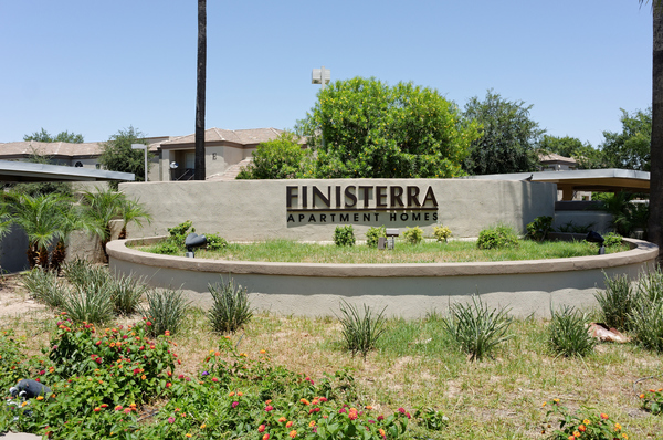 signage at Finisterra Apartments