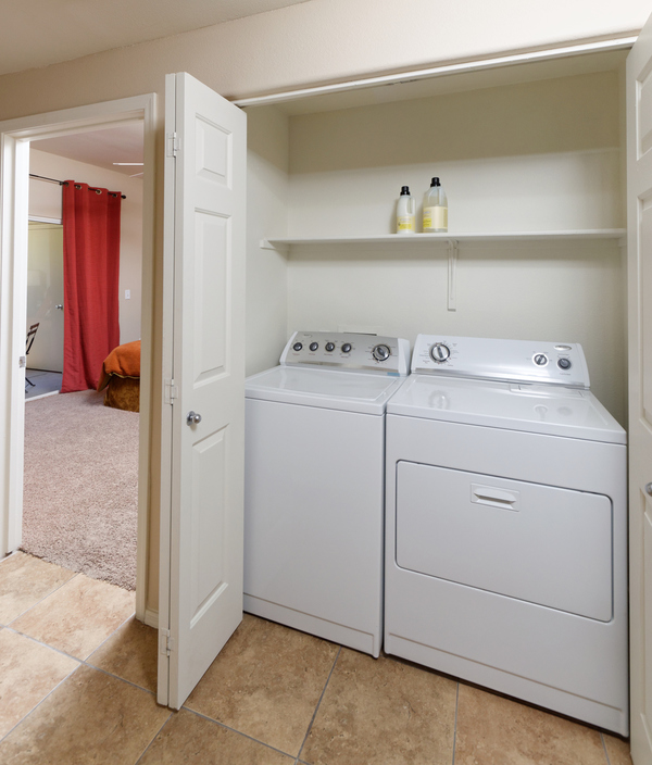 laundry room at Finisterra Apartments