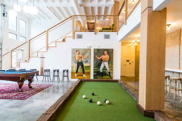game room at The Oliver Apartments